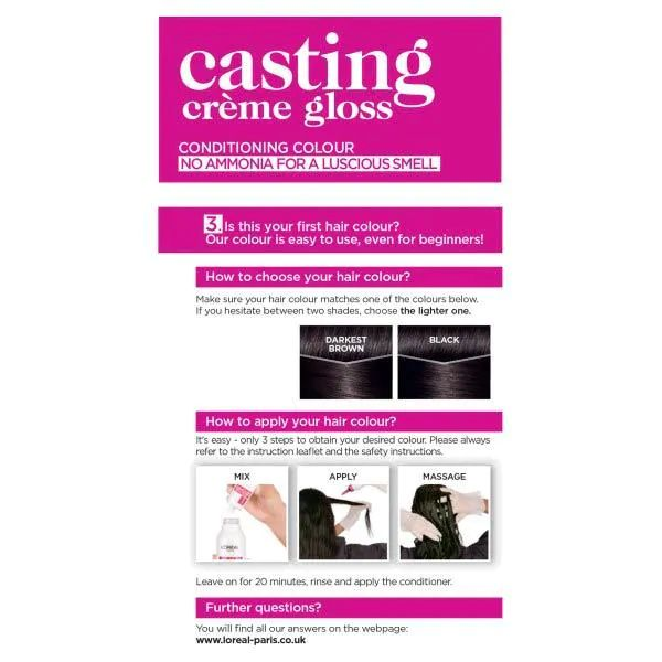L'Oreal Casting Creme Semi Permanent Hair Dye Gloss 200 Ebony Black