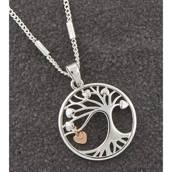 Two Tone Tree Dangly Heart Necklace