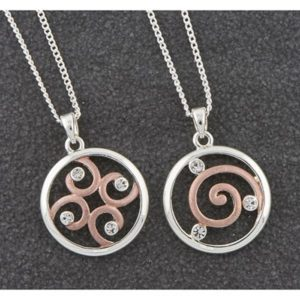 Matt Silver & Rose Gold Plated Swirl Necklace