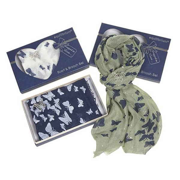 Pretty Butterfly Scarf & Brooch Set