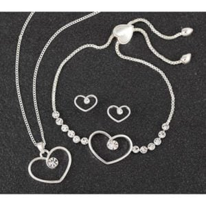 Diamond Swirl Heart SP Necklace, Bracelet & Earrings Set