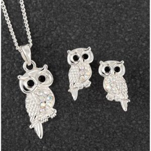Sparkle Owl SP Necklace Earrings Set