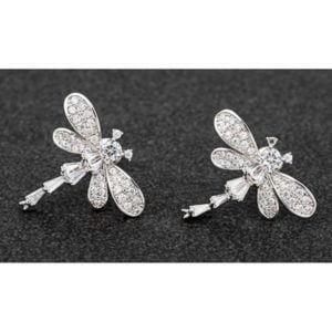Sparkle Dragonfly Platinum Plated Stud Earrings
