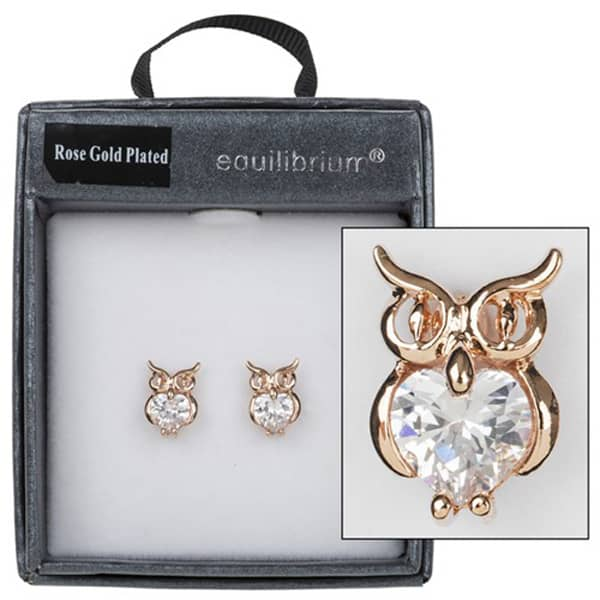 Equilibrium Rose Gold Plated Crystal Owl Earrings