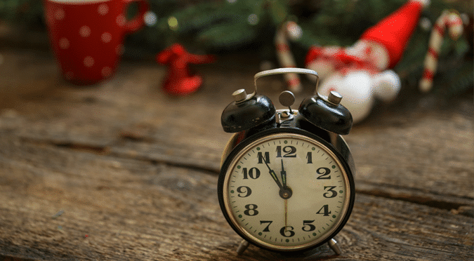 clock and christmas background