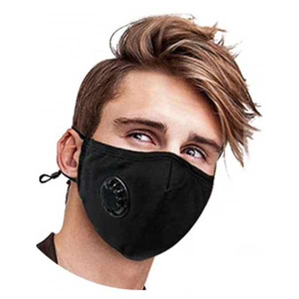 Reusable Black Cotton Face Mask with valve PM 2.5 KN 95  (includes 2 filters)