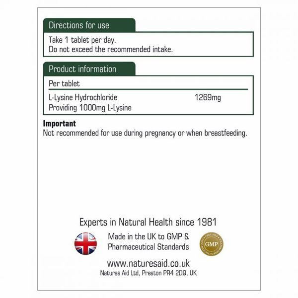 Natures Aid L-Lysine 1000mg – (60) Tablets