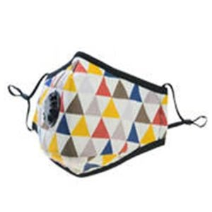 Geometric Coloured Cotton Face Mask with valve PM 2.5 KN 95  (includes 2 filters)